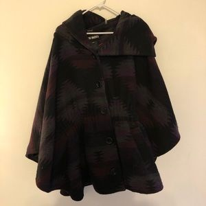 Steve Madden Aztec Button Down Wool Hooded Poncho